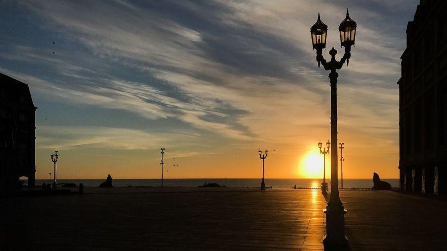 Sunset Silhouette Street Light Sky Beach