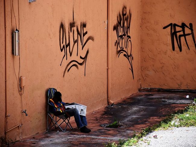 Architecture Built Structure Chair Day Graffiti Man Asleep Man Asleep Outside Sleeping Sleeping In Chair Sleeping On The Job