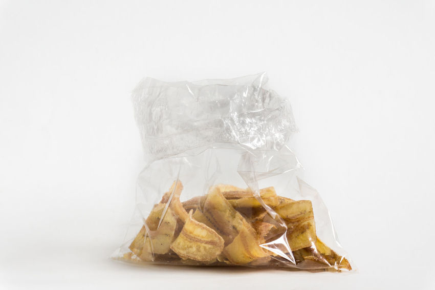 Close-up Food Freshness Fried Banana No People Plastic Bag Studio Shot White Background