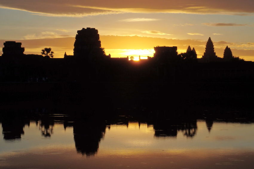 Sunrise in Angkkor, Cambodia Angkor Angkorwat Cambidia Cloud - Sky Idyllic Reflection Reflection Scenics Silhouette Sky Sunrise Tranquil Scene Tranquility Water Water Reflections