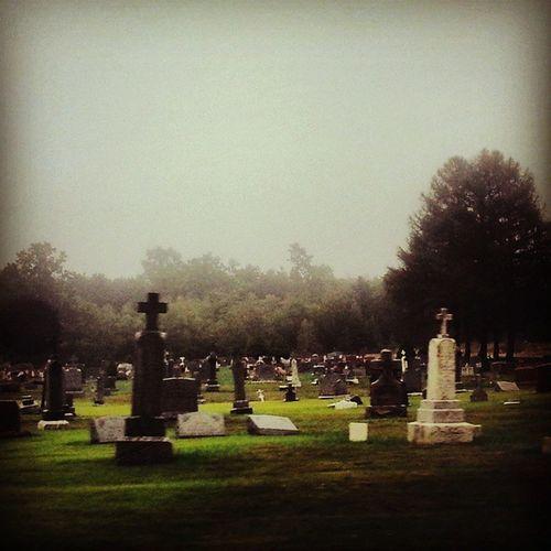 Graveyard at nightfall Cemetery Graveyard Amishcountry Graveyardporn gravestalker ruralamerica rurextrb_members1 headstones crucifix monuments pastoral landscape pennsylvania