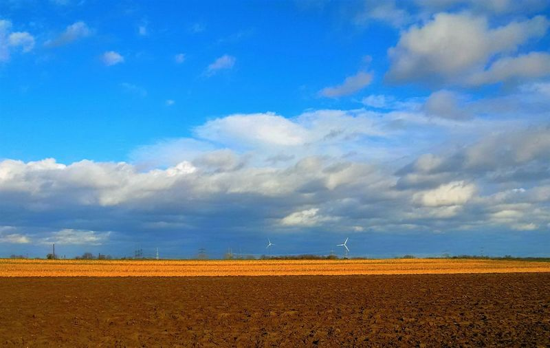 14:57 Ortszeit, an einem kalten Tag im Februar 2016. Hörst Du das? Eben, ich höre auch nichts. :) Spaziergang 2016 February Februar Ackerbau Felder Braun Brown Blau Agriculture Field Cloud - Sky Sky Blue Rural Scene Outdoors Landscape No People Nature
