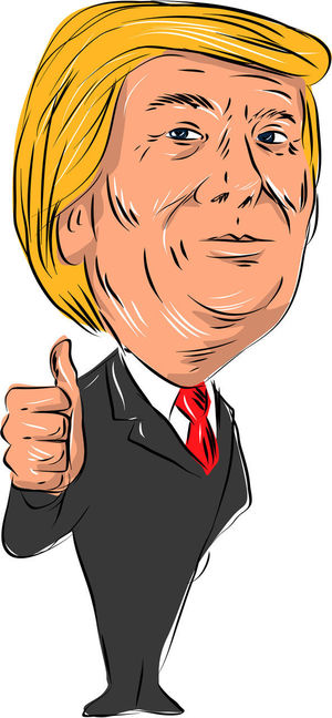 Illustration showing Republican politician and American president Donald John Trump thumbs up on isolated white background done in cartoon style. American Caricature Cartoon Donald John Trump Donald Trump Front Human Face One Person Politician President Republican Thumbs Up Water Color White Background