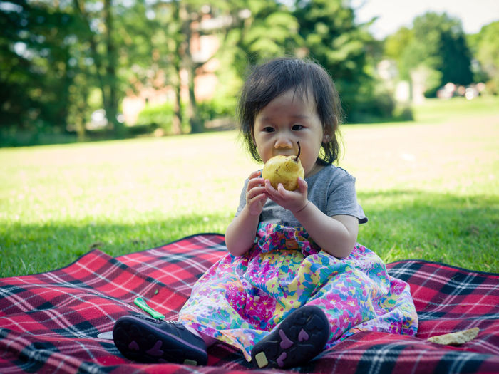 Cute girl eating pear while sitting on picnic blanket over grassy field at park