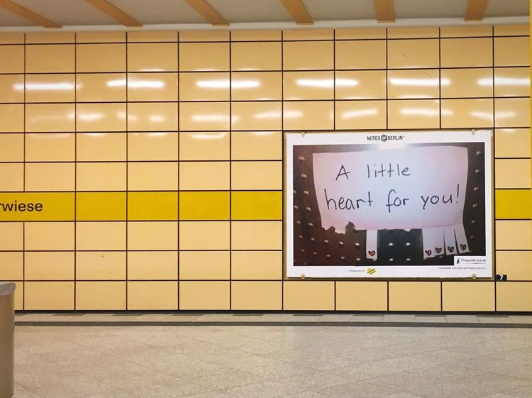 A little ❤️ for you! Notes From The Underground Yellow Color Bvg Tile Wall - Building Feature Text Flooring Communication Indoors  Western Script No People Information Sign Sign Subway Station Message