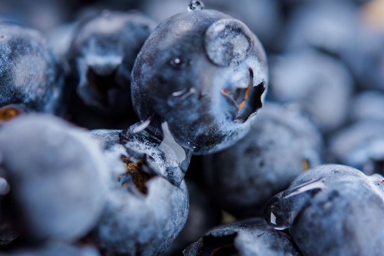 Fresh juicy blueberries, closeup selective focus