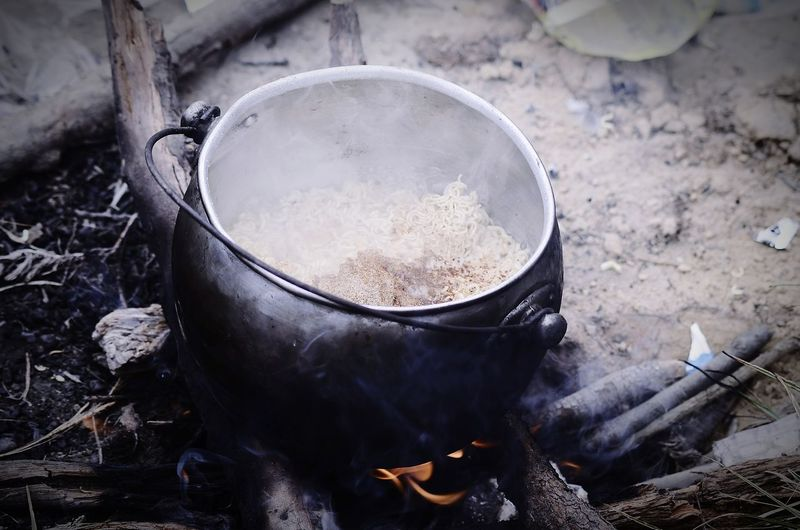 High angle view of food cooking on stove