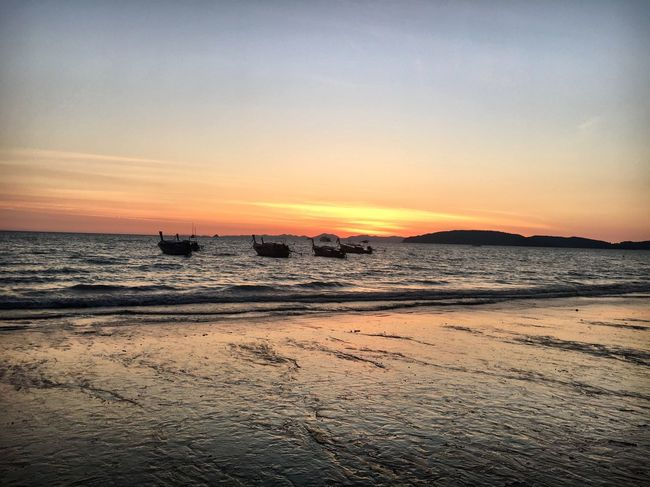 Sunsets for days Sea Sunset Water Nature Beauty In Nature Beach Scenics Horizon Over Water Tranquility Sky Tranquil Scene Sand Krabi Thailand Beauty In Nature Tranquility Travel Photography Sunset_collection Ao Nang, Krabi. Krabi Thailand Travel Nautical Vessel Idyllic Colors Seascape
