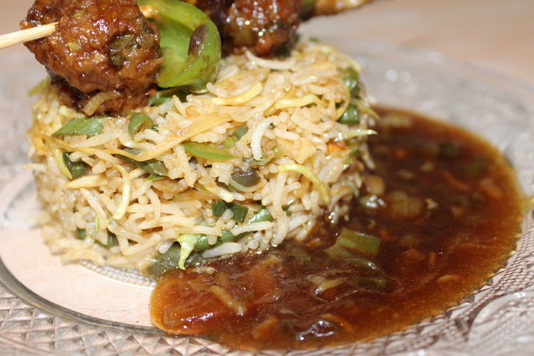 No Filter Ready-to-eat Fried Rice With Manchurian And Paneer Chilly Food First Eyeem Photo