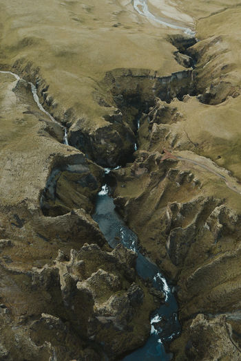 High angle view of rocks at shore