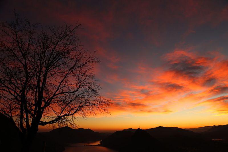 Sunset OneYearAgo Lugano Lake Ticino
