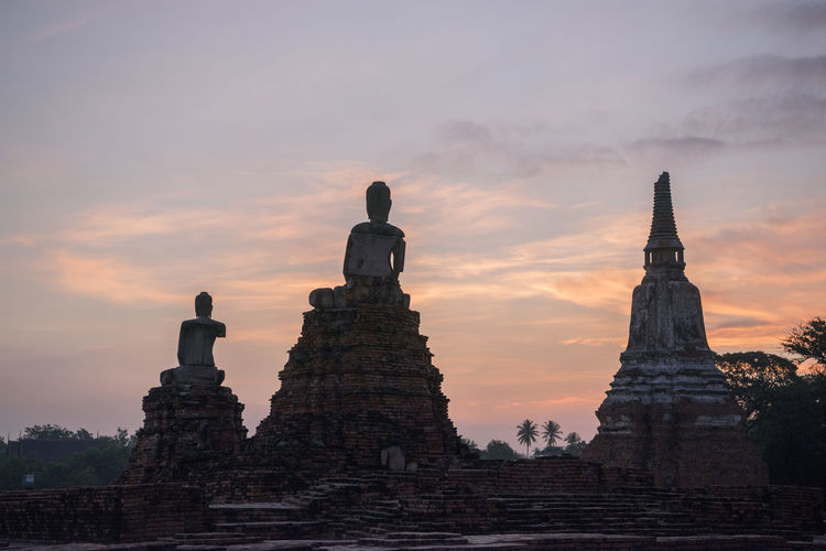 Low Angle View Of Temple And Buddha Statues Against Sky During Sunset