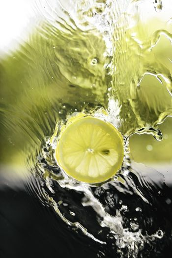 Close-up of lemon in water