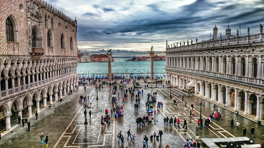 Piazzasanmarco Venezia Italy HDR Hdrphotography Sea Water Beautifulitaly My Smartphone Life Piazza San Marco People