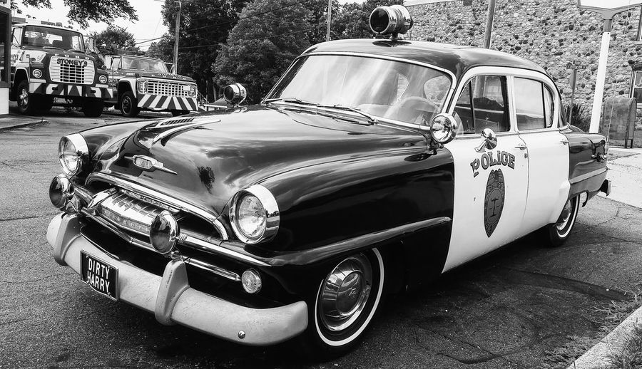 Car Land Vehicle Transportation Outdoors Day No People Old Police Car Black And White Automobile Photography