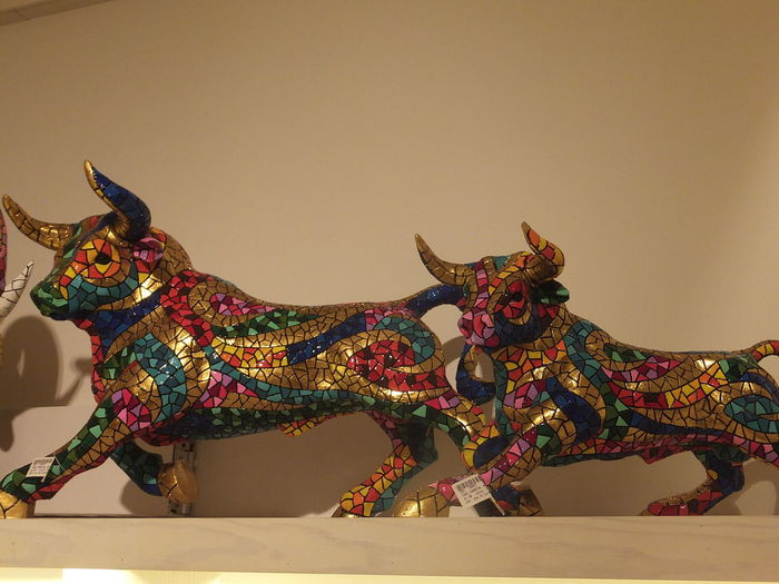 Ceramic Bulls Barcelona Bulls Ceramic Art Ceramic Shop City Close Up Colourful Composition Creativity Culture Full Frame Fun Gift Shop Illuminated Indoor Photography Multicoloured No People Shopping Souvenirs Spaın Store Tourist Attraction  Tourist Destination Two Bulls Unusual