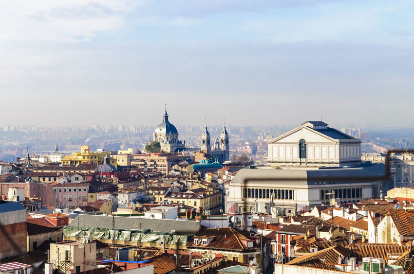 A skyline view of the Opera house and Catherdral of Madrid. Architecture Building Exterior Cathedral City City Life Cityscape Day Editorial  Historical Historical Building Madrid No People Opéra Outdoors Place Of Worship Roof Roof Rooftop Sky Skyline Tourism Travel Travel Destinations Travelling Urban Skyline