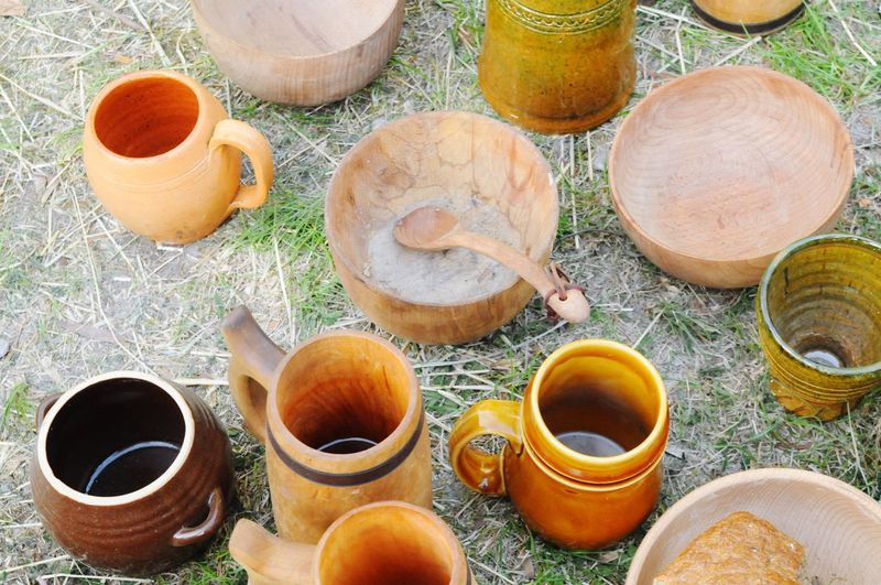 Some old pots and cups High Angle View No People Large Group Of Objects Day Outdoors Clay Nature Close-up Middle Ages Old Pots Cups Ground Outdoor Grass
