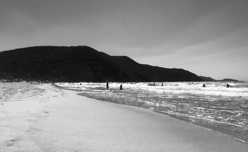 Bw Wild Beach Saint Florent Ostriconi Corse Corsica Sky Water Land Beach Sea Beauty In Nature Nature Scenics - Nature Mountain Day Sand Tranquil Scene Cloud - Sky Tranquility