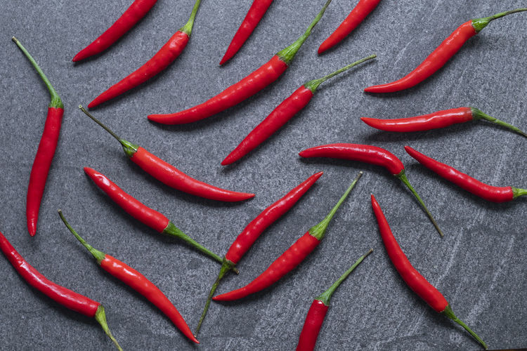 High angle view of red chili pepper over white background
