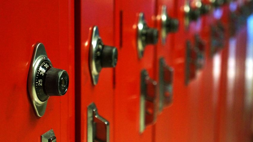 Close-up Combination Lock Door Focus On Foreground Full Frame Indoors  Hallway Knob Leading Lines Locked Locker Metal Metallic Protection Red Retro Styled Safety School Security The Color Of School Vanishing Point