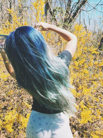 Let Your Hair Down Blue Hair Long Hair