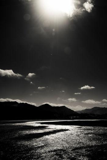 太阳照过的地方,白云飘过的地方,河水流过的地方,是我到过的地方。 somewhere i've been Black And White Landscape Lhasa River Mountain Sky And Clouds Sun Tibet
