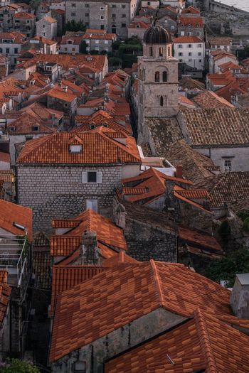 Flip. Architecture Building Exterior Built Structure High Angle View Residential Building Day Outdoors Roof City Tiled Roof  Dubrovnik Dubrovnik, Croatia Dubrovnik - Croatia❤ Dubrovnik Old Town Dubrovnikoldtown Croatia Croatia ♡ Hrvatska Church Architecture Orange Color Orange Roof Crop  Tower