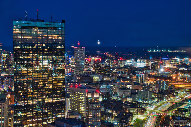 The city of Boston, as seen from the Prudential Skywalk Observatory. Building Exterior Architecture City Built Structure Night Illuminated Building Cityscape Office Building Exterior No People Modern Sky City Life Skyscraper Residential District Nature Travel Destinations High Angle View Outdoors Nightlife Apartment Boston New England  Prudential Observatory