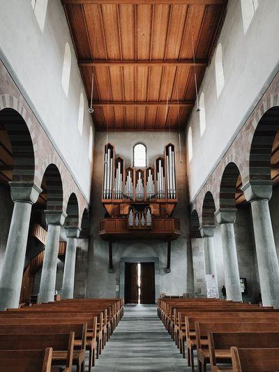 Empty corridor of church building