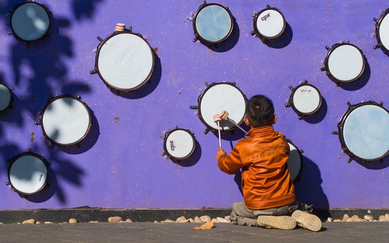 Playing Drum Children Kids Boy Child Childhood Children Only Children Photography Purple Purple Wall The Week On EyeEm