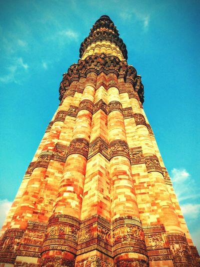 Qutub_minar Incridible India No People Sky UNESCO World Heritage Site Tower Of Victory Travel Destinations History Architecture Ancient Triangle Shape Travel Tourism
