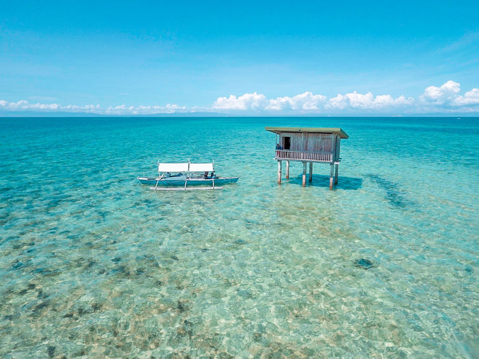 Beach Beauty In Nature Blue Day Eyeem Philippines Horizon Over Water Lifeguard Hut Nature No People Outdoors Sand Scenics Sea Sky Tranquil Scene Tranquility Water