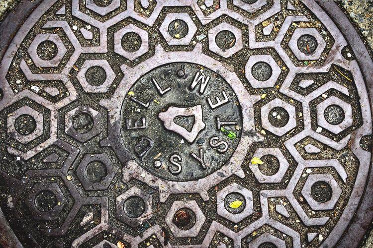 High angle view of manhole
