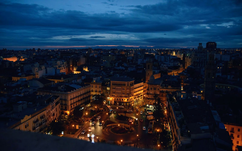night valencia view from above spain evening Architecture City Illuminated Building Exterior Cloud - Sky Cityscape Built Structure Night Sky High Angle View Nature Transportation Building Dusk No People Motion City Life Outdoors Mode Of Transportation Valencia, Spain View From Above Square