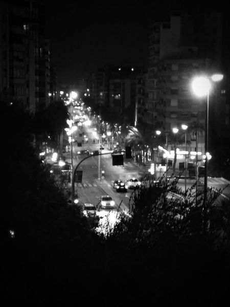 The beginning of the night Cars Lights Traffic Lights City Center Black And White