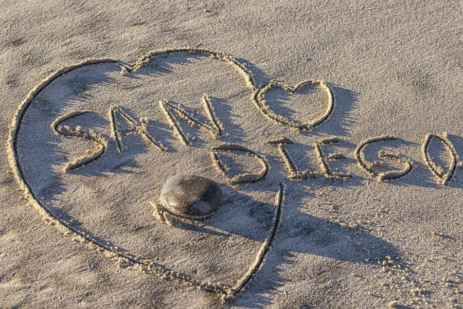 The word San Diego written in the sand. heart shape, beach. Beach Close-up Day Ground Heart Heart Shape Love No People Outdoors Sand Travel Destination Written In The Sand