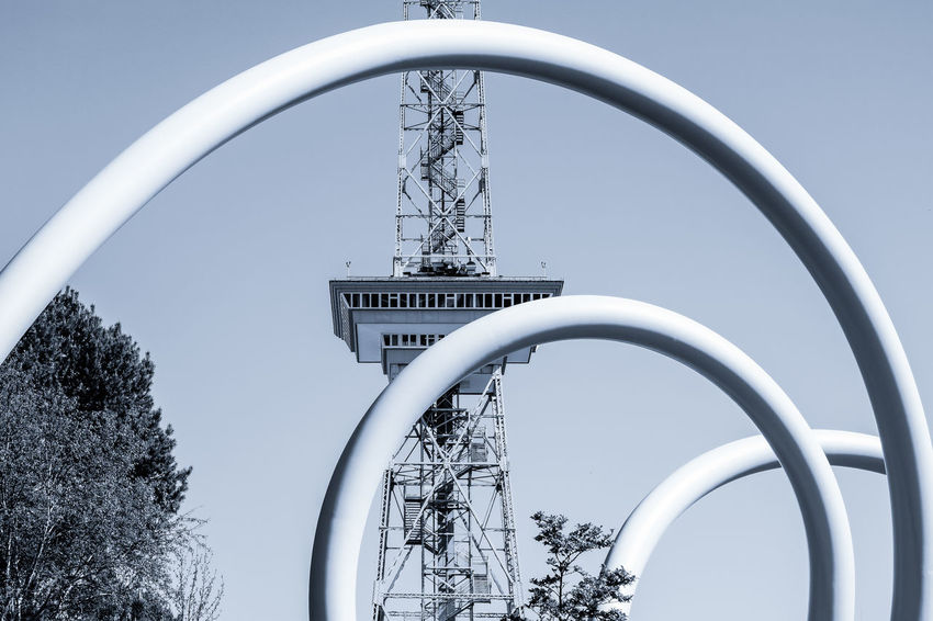 Der Funkturm Architecture Art ArtWork Blue Built Structure Charlottenburg  Clear Sky Design Funkturm Low Angle View Monochromatic Monochrome No People Radio Tower Sky Tall - High Tower Tree