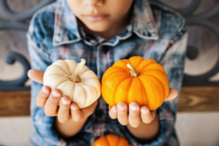 Midsection of man holding pumpkins
