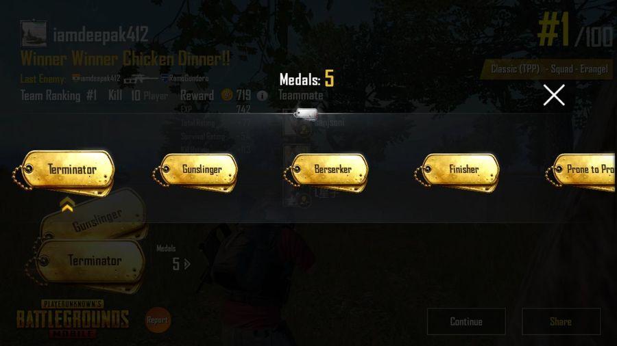 winner winner chicken dinner💪 Deepak India 😚 Medal PUBG Battle Royale Gamer Game Win Communication Full Frame Close-up Capital Letter