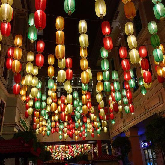 Chinatown Illuminated Night Multi Colored Hanging Lantern Abundance