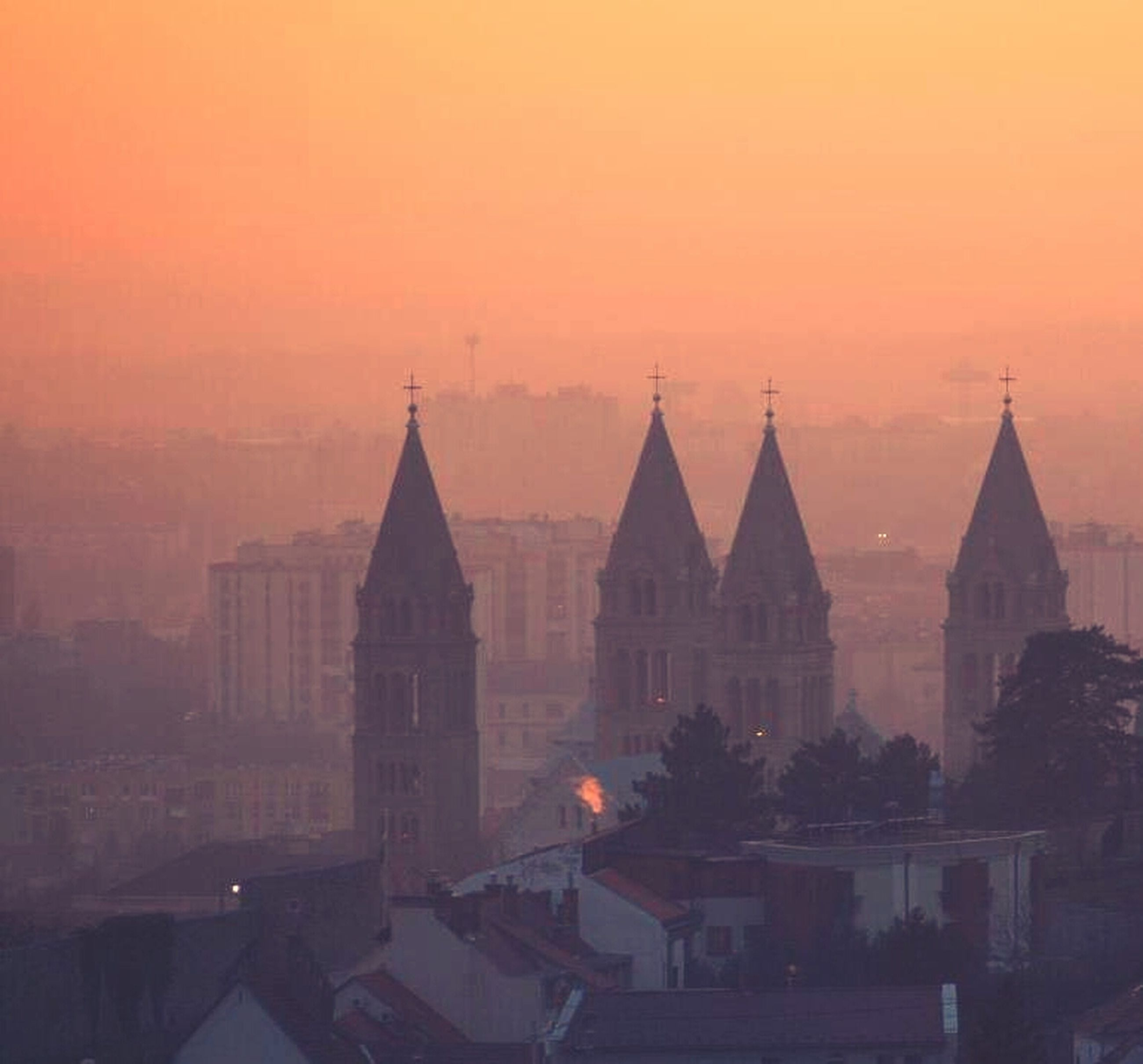 architecture, sunset, building exterior, built structure, orange color, place of worship, religion, sky, church, spirituality, silhouette, dome, city, outdoors, dusk, no people, nature, spire