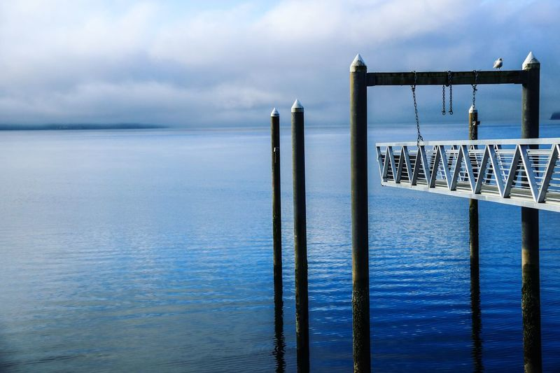 Water Sea Tranquility Horizon Over Water Nature Sky Outdoors Waterscape Waterscape Waterfront Waterscapes Pier Washington Camping CannonEOSRebelT6i Cannon Mystic Morning View Vacation Blue Beauty In Nature No People Water Sea First Eyeem Photo
