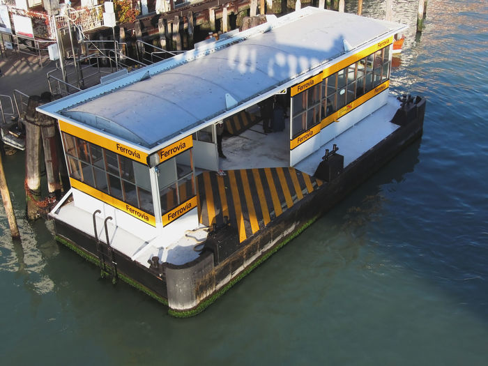 High angle view of vaporetto station in grand canal