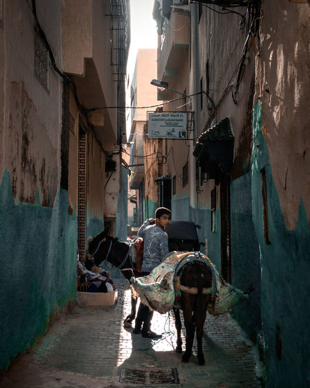 Rear view of people on alley amidst buildings