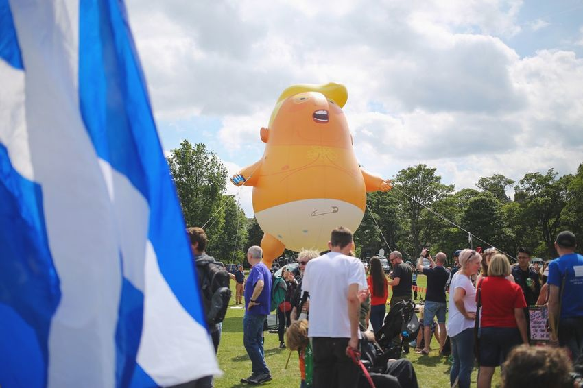 Trump Baby Trump Scotland Protest Trump Protest Group Of People Crowd Real People Representation Men Large Group Of People Cloud - Sky