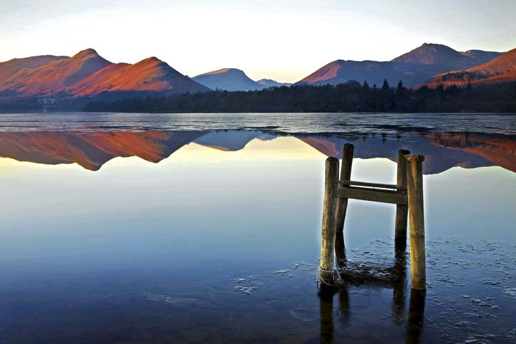 Broken Jetty. Derwent Water Sunrise Reflection Derwent Water Reservoir Jetty, Pier Lake District National Park Nature Outdoors No People Beauty In Nature Sky Landscape Day Symmetry Sunset first eyeem photo EyeEmNewHere