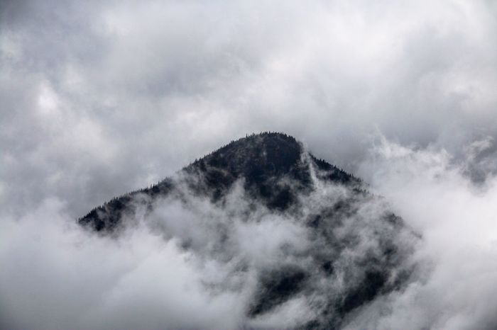 Mountain Misty Cold Mountain Top Peaking Through Clouds Grey