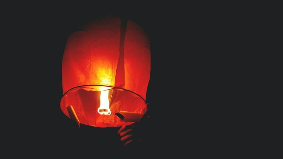 Our wishes last night Lantern Black Background Orange Color Phone Note3Camera Faded First Eyeem Photo