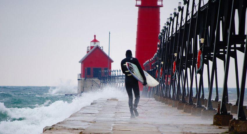 Water Red Lakeshore Lake Michigan Surfer Surfing Winter January2016 Grand Haven Pier Pier Boardwalk First Eyeem Photo